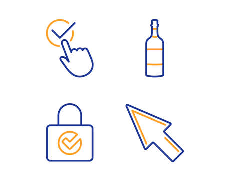 Password encryption, Checkbox and Brandy bottle icons simple set. Mouse cursor sign. Protection locker, Approved, Whiskey. Click arrow. Business set. Linear password encryption icon. Vector