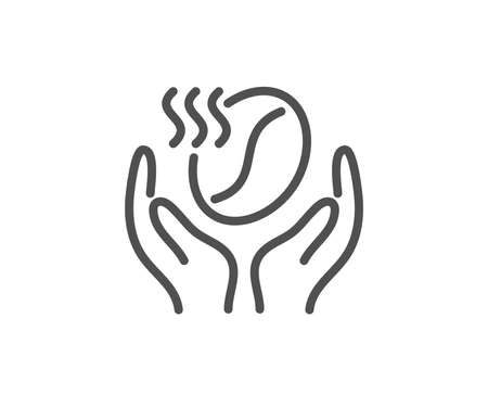 Coffee line icon. Hold roasted bean sign. Love caffeine symbol. Quality design element. Linear style coffee icon. Editable stroke. Vector Иллюстрация
