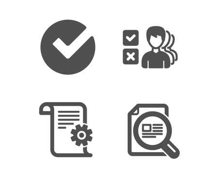 Satz von Symbolen für Meinung, Überprüfung und technische Dokumentation. Überprüfen Sie das Artikelzeichen. Wählen Sie Antwort, Ausgewählte Auswahl, Manuell. Lupe. Klassisches Design-Meinungssymbol. Flaches Design. Vektor