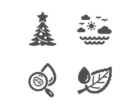Set of Christmas tree, Travel sea and Water analysis icons. Leaf dew sign. Spruce, Summer holidays, Aqua bacteria. Water drop.  Classic design christmas tree icon. Flat design. Vector