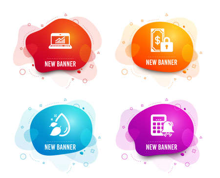 Liquid badges. Set of Private payment, Online statistics and Water drop icons. Calculator alarm sign. Secure finance, Computer data, Serum oil. Accounting.  Gradient private payment icon. Vector Vectores