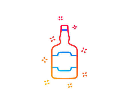 Whiskey bottle line icon. alcohol sign. Gradient design elements. Linear whiskey bottle icon. Random shapes. Vector