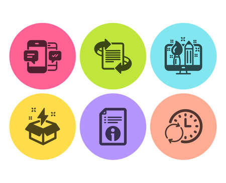Smartphone sms, Marketing and Creative idea icons simple set. Technical info, Creative design and Update time signs. Mobile messages, Article. Education set. Flat smartphone sms icon. Circle button