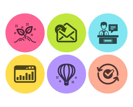 Air balloon, Marketing statistics and Exhibitors icons simple set. Receive mail, Startup concept and Approved signs. Sky travelling, Web analytics. Education set. Flat air balloon icon. Circle button Stock Illustratie