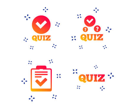 Iconos de prueba. Lista de verificación con el símbolo de marca de verificación. Encuesta encuesta o signo de formulario de comentarios del cuestionario. Formas dinámicas aleatorias. Icono de prueba de gradiente. Vector