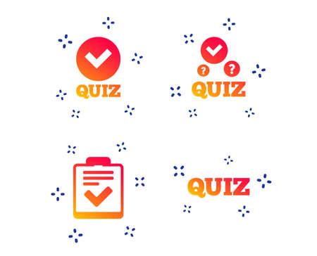 Quiz-Symbole. Checkliste mit Häkchensymbol. Umfrage-Umfrage- oder Fragebogen-Feedback-Formular-Zeichen. Zufällige dynamische Formen. Farbverlauf-Quiz-Symbol. Vektor