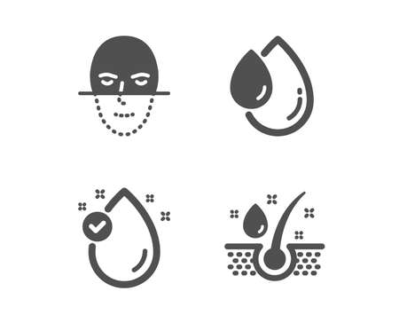Set of Vitamin e, Oil drop and Face recognition icons. Serum oil sign. Serum, Faces biometrics, Healthy hairs.  Classic design vitamin e icon. Flat design. Vector Banque d'images - 126994410