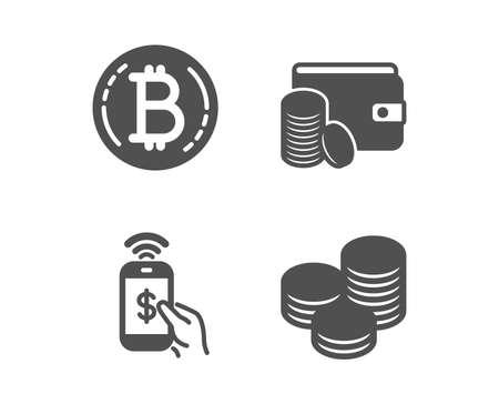 Set von Symbolen für Bitcoin, Telefonzahlung und Zahlungsmethode. Tipps-Zeichen. Kryptowährungsmünze, Mobile Pay, Brieftasche mit Münzen. Bargeld-Münzen. Bitcoin-Symbol im klassischen Design. Flaches Design. Vektor