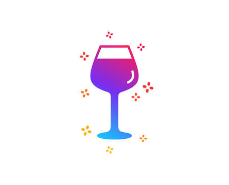 Wine glass icon.  Dynamic shapes. Gradient design glass icon. Classic style. Vector Illustration