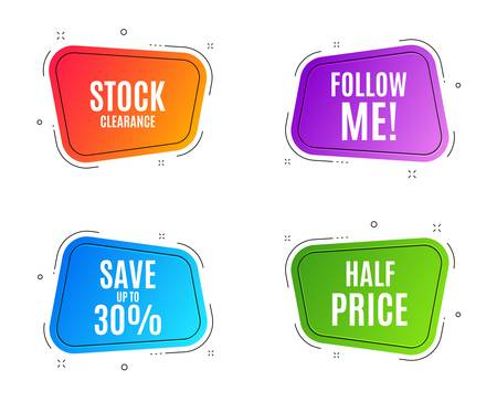 Geometric banners. Save up to 30%. Discount Sale offer price sign. Special offer symbol. Follow me banner. Clearance sale. Vector Standard-Bild - 126994429