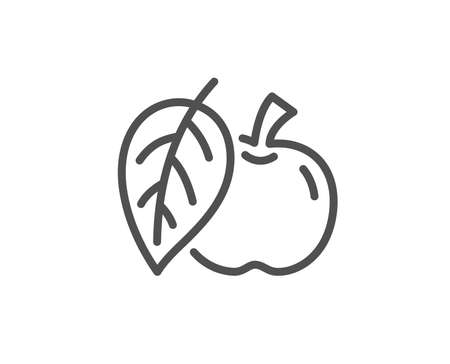 Apple line icon. Fresh fruit sign. Natural food symbol. Quality design element. Linear style apple icon. Editable stroke. Vector