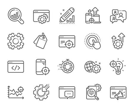 Seo line icons. Website stats, Target and Increase sales signs. Traffic management, social network and seo optimization icons. Gear wheel, Search engine and increase mobile sales. Vector Illustration