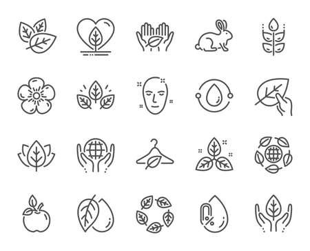 Organic cosmetics line icons. No alcohol free, synthetic fragrance. Slow fashion, sustainable textiles icons. Fair trade, eco organic cosmetics. Gluten free, animal testing. Vector Ilustração