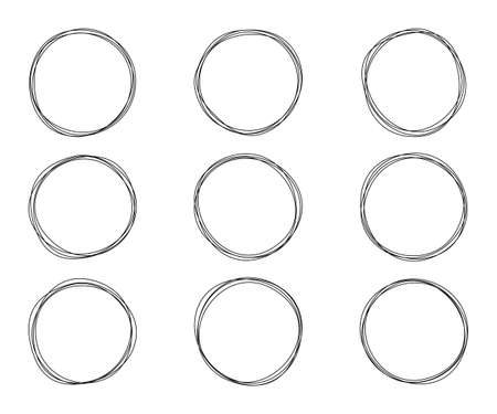 Hand drawn circle. Set of sketch elements. Speech bubbles concept. Abstract line circle. Sketchy infographics. Scribble doodle design. Hand drawn bubble. Sketch vector Illustration