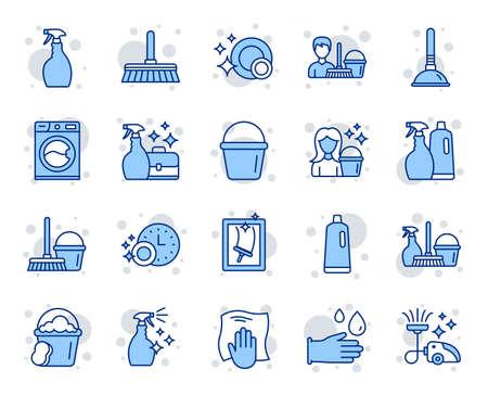 Symbole für Reinigungslinien. Symbole für Wäsche, Fensterschwamm und Staubsauger. Waschmaschine, Reinigungsservice und Reinigungsgeräte. Fensterputzen, Abwischen, Wäsche waschen Waschmaschine. Vektor Vektorgrafik