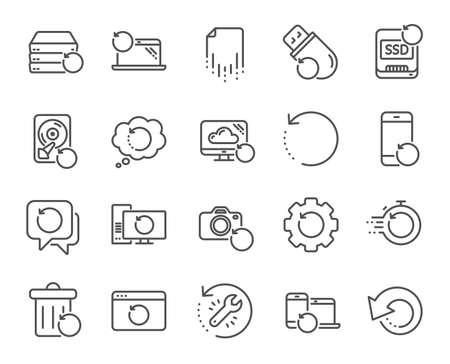 Symbole für die Wiederherstellungslinie. Sichern, Wiederherstellen von Daten und Wiederherstellen von Dokumenten. Symbole zum Erneuern, Reparieren und Wiederherstellen des Laptops. Laufwerk reparieren, Informationen wiederherstellen und Daten zurückgeben. Dokument sichern. Vektor