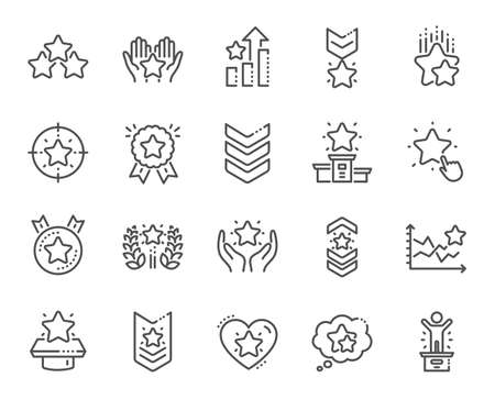 Ranking line icons. First place, star rating and winner medal. Shoulder strap, army achievement and victory ribbon icons. Star ranking, champion and winner trophy. Best level. Vector