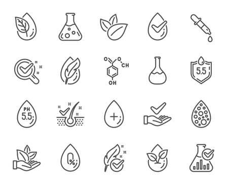 Sin colores artificiales, iconos de líneas libres de copos anticaspa. Iconos de fórmula química probados dermatológicamente, sin alcohol y parabenos. Testado hipoalergénico, pH neutro y orgánico. Vector