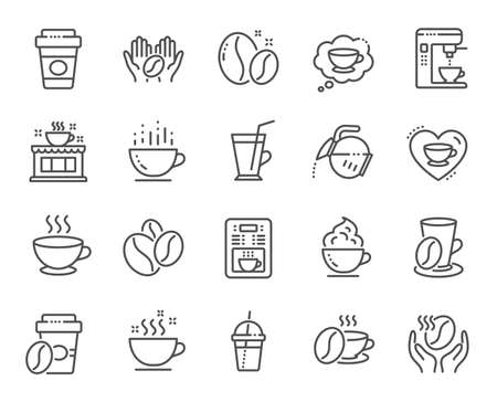 Coffee line icons. Beans, hot cocktail and coffee maker machine. Espresso cup, cappuccino with whipped cream line icons. Latte vending machine, breakfast drink and roasted beans. Vector Stock Illustratie