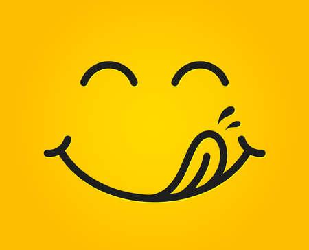 Emoticon di sorriso squisito con la bocca di leccare la lingua. Cibo gustoso che mangia faccia emoji. Delizioso cartone animato con gocce di saliva su sfondo giallo. Design della linea del viso sorridente. Gourmet salato. Vettore squisito