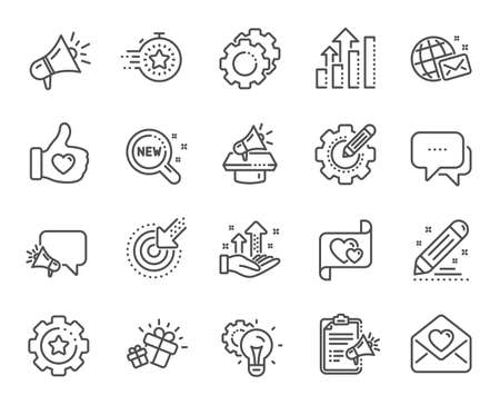 Icone della linea del progetto sociale del marchio. Strategia aziendale, megafono e rappresentante. Campagna di influenza, social media marketing, icone ambasciatore del marchio. Innovazione, regalo, come segno. Vettore