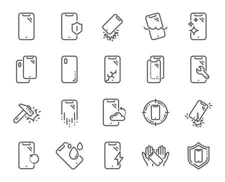 Iconos de línea de protección de teléfonos inteligentes. Vidrio templado, protector de pantalla y resistente al agua. Cubierta del teléfono, protección de cristal de pantalla e iconos de dispositivos a prueba de golpes. Smartphone fuerte. Vector Ilustración de vector