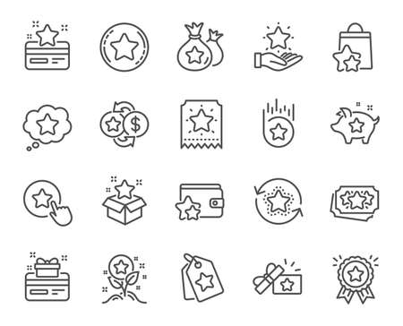 Loyalty program line icons. Bonus card, Redeem gift and discount coupon signs. Lottery ticket, Earn reward and winner gift icons. Shopping bag, loyalty card and lottery present. Vector 일러스트