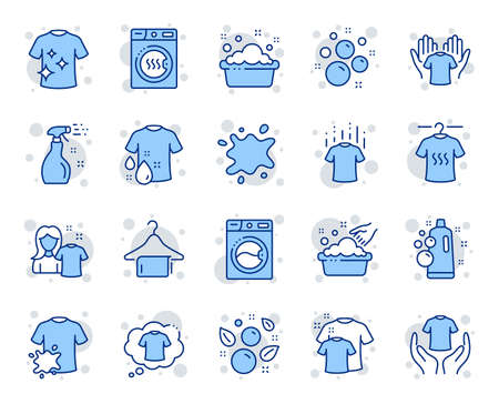 세탁 라인 아이콘입니다. 건조기, 세탁기 및 먼지 셔츠. 손 씻기, 분지 아이콘에 비누 거품. 마른 티셔츠, 세탁 서비스, 더러운 얼룩. 깨끗한 옷. 벡터 벡터 (일러스트)