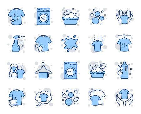 Iconos de línea de lavandería. Secadora, lavadora y remera de suciedad. Lavado de manos, pompas de jabón en iconos de lavabo. Camiseta seca, servicio de lavandería, mancha sucia. Ropa limpia. Vector Ilustración de vector