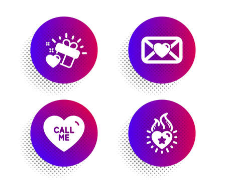 Valentine, Call me and Love gift icons simple set. Halftone dots button. Heart flame sign. Love letter, Heart. Love set. Classic flat valentine icon. Vector