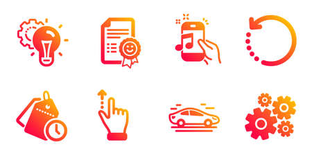 Recovery data, Time management and Music phone line icons set. Car, Idea gear and Touchscreen gesture signs. Smile, Cogwheel symbols. Backup info, Clock tags. Technology set. Vector