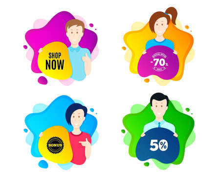 Shop now symbol. People shape offer badge. Special offer sign. Retail Advertising. Dynamic shape offer. Worker person badge. Cut out people coupon. Shop now text. Vector 向量圖像