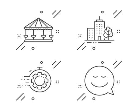 Carousels, Skyscraper buildings and Seo timer line icons set. Smile sign. Attraction park, Town architecture, Cogwheel. Chat emotion. Line carousels outline icon. Vector