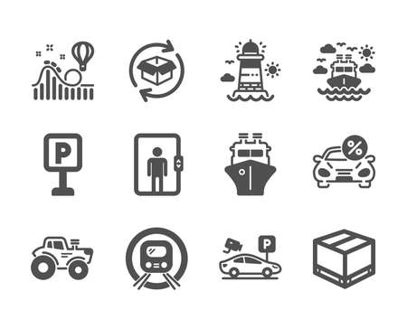 Set of Transportation icons, such as Return parcel, Ship, Car leasing, Roller coaster, Parking, Tractor, Elevator, Delivery box, Metro subway, Ship travel, Parking security, Lighthouse. Vector Illustration