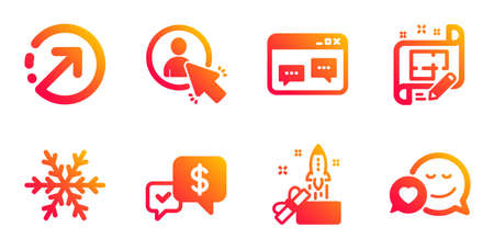 Payment received, Architect plan and Air conditioning line icons set. User, Direction and Browser window signs. Innovation, Dating symbols. Money, Engineering plan. Technology set. Vector