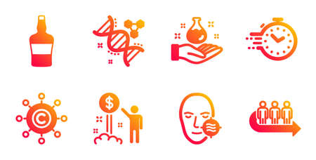 Timer, Copywriting network and Chemistry lab line icons set. Income money, Scotch bottle and Chemistry dna signs. Problem skin, Queue symbols. Deadline management, Content networking. Vector Ilustrace