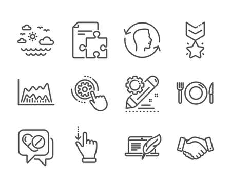 Set of Business icons, such as Project edit, Copyright laptop, Travel sea, Strategy, Cogwheel settings, Medical drugs, Food, Employees handshake, Winner medal, Touchscreen gesture, Face id. Vector