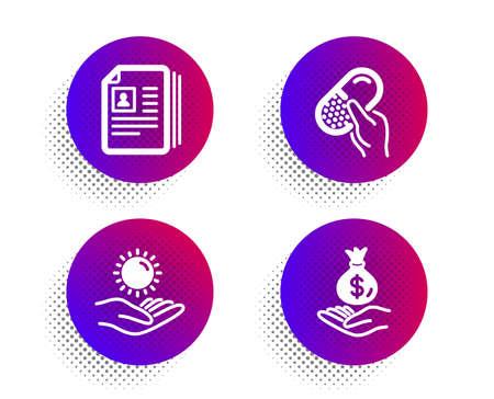 Cv documents, Capsule pill and Sun protection icons simple set. Halftone dots button. Income money sign. Portfolio files, Medicine drugs, Ultraviolet care. Savings. People set. Vector Vektorové ilustrace