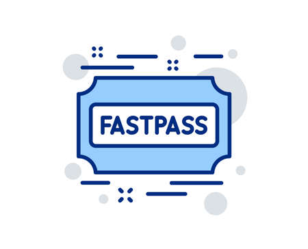 Fastpass line icon. Amusement park ticket sign. Fast track symbol. Linear design sign. Colorful fastpass icon. Vector Illustration