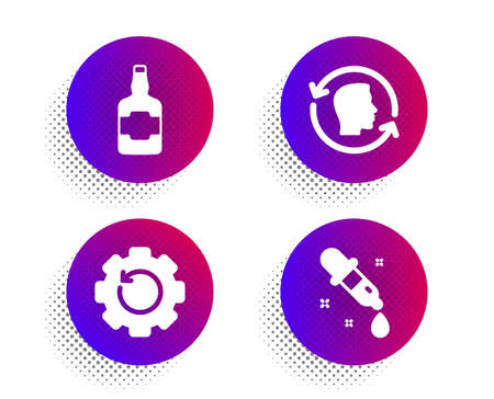 Face id, Recovery gear and Whiskey bottle icons simple set. Halftone dots button. Chemistry pipette sign. Identification system, Backup info, Scotch alcohol. Laboratory. Business set. Vector