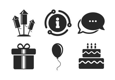 Cake and gift box signs. Chat, info sign. Birthday party icons. Air balloons and fireworks rockets symbol. Classic style speech bubble icon. Vector