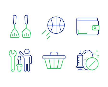 Basketball, Shop cart and Repairman line icons set. Money wallet, Cooking cutlery and Medical drugs signs. Sport ball, Web buying, Repair screwdriver. Payment method. Business set. Vector  イラスト・ベクター素材