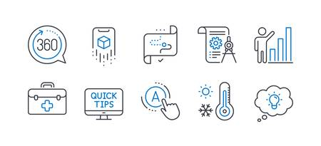 Set of Science icons, such as Weather thermometer, Web tutorials, First aid, Divider document, Graph chart, Target path, 360 degrees, Ab testing, Augmented reality, Energy line icons. Vector Illustration