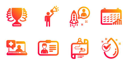 Identification card, Medical help and Calendar graph line icons set. Brand ambassador, Winner and Startup signs. Journey path, Water drop symbols. Person document, Medicine laptop. Vector
