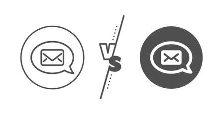 Messenger communication sign. Versus concept. Mail line icon. E-mail symbol. Line vs classic messenger icon. Vector
