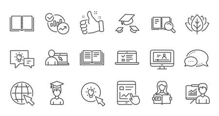 Education line icons. Book, Video tutorial and Instructions. Presentation linear icon set. Quality line set. Vector