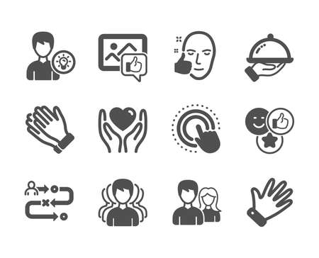 Set of People icons, such as Hold heart, Restaurant food, Journey path, Person idea, Group, Click hand, Like photo, Like, Clapping hands, Couple, Hand, Healthy face classic icons. Vector