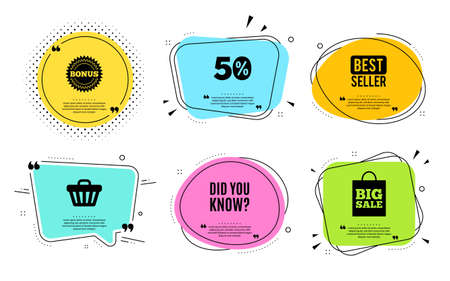 Did you know. Best seller, quote text. Special offer question sign. Interesting facts symbol. Quotation bubble. Banner badge, texting quote boxes. Did you know text. Coupon offer. Vector Illustration