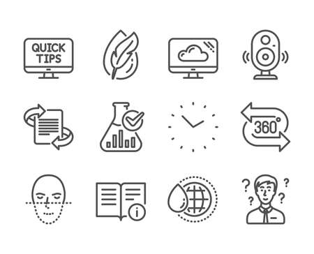Set of Science icons, such as Time, Speaker, World water, 360 degree, Marketing, Chemistry lab, Support consultant, Hypoallergenic tested, Web tutorials, Technical info, Face recognition. Vector Illustration