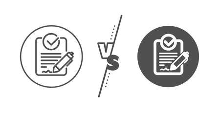 Demande de signe de proposition. Versus concept. Icône de ligne Rfp. Signaler le symbole du document. Ligne vs icône rfp classique. Vecteur
